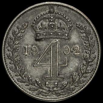 1902 Edward VII Silver Matt Proof Maundy Fourpence Reverse