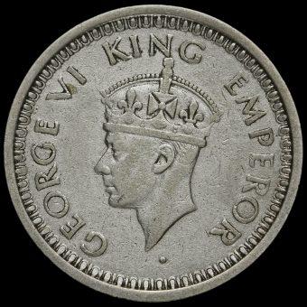 British India 1944 George VI Silver One Rupee Obverse