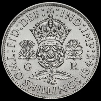 1945 George VI Silver Two Shilling Coin / Florin Reverse