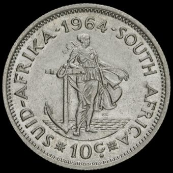 South Africa 1964 Silver 10 Cents Reverse