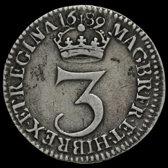 1689 William and Mary Early Milled Silver Maundy Threepence Reverse