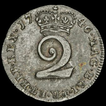 1746 George II Early Milled Silver Maundy Twopence Reverse