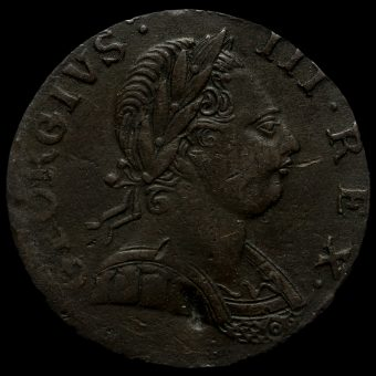 1775 George III Early Milled Copper Halfpenny Obverse