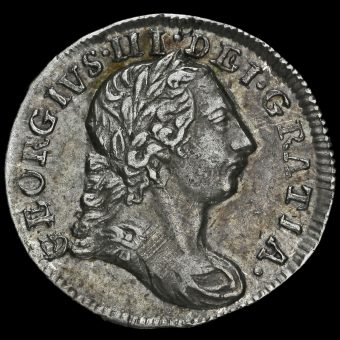 1780 George III Early Milled Silver Maundy Twopence Obverse