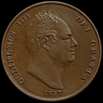 1837 William IV Milled Copper Penny Obverse