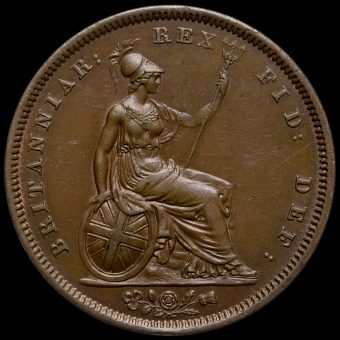 1837 William IV Milled Copper Penny Reverse