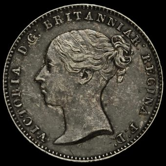 1843 Queen Victoria Young Head Silver Threepence Obverse