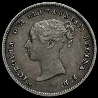 1846 Queen Victoria Young Head Silver Maundy Fourpence Obverse
