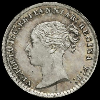1871 Queen Victoria Young Head Silver Maundy Penny Obverse