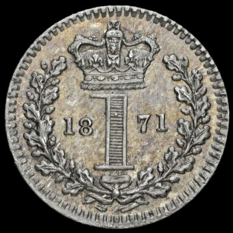 1871 Queen Victoria Young Head Silver Maundy Penny Reverse