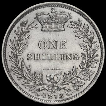 1873 Queen Victoria Young Head Silver Shilling Reverse