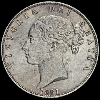 1881 Queen Victoria Young Head Silver Half Crown Obverse