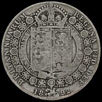 1892 Queen Victoria Jubilee HeadSilver Half Crown Reverse