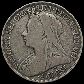 1895 Queen Victoria Veiled Head Silver LIX Crown Obverse