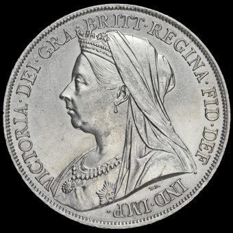 1899 Queen Victoria Veiled Head Silver LXIII Crown Obverse