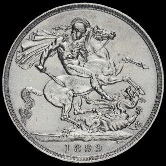 1899 Queen Victoria Veiled Head Silver LXIII Crown Reverse