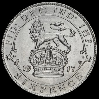 1917 George V Silver Sixpence Reverse