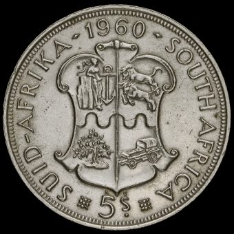 South Africa 1960 Silver 5 Shillings Coin Reverse